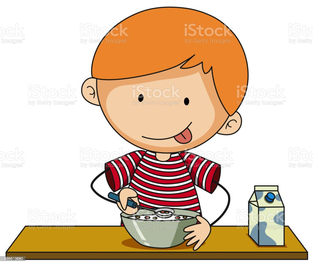 Little boy having cereal with milk vector art illustration