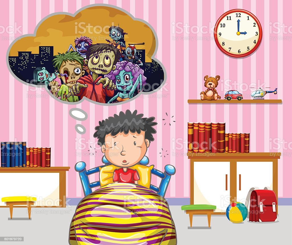 Little boy having nightmare vector art illustration