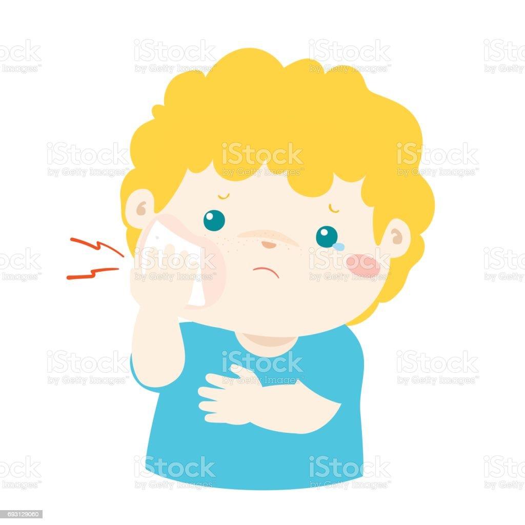 Ilustración De Niño Con Vector De Dibujos Animados De Dolor