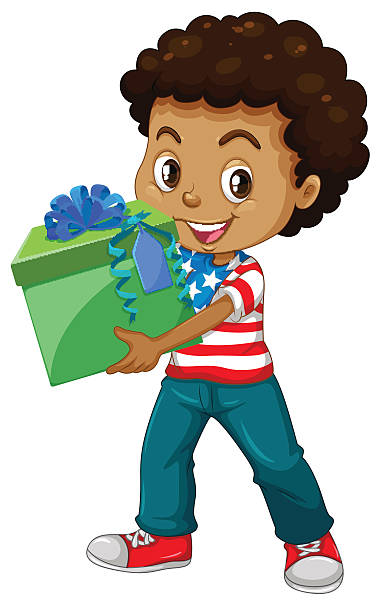 Royalty free boy giving gift clip art vector images little boy holding a present box vector art illustration negle Choice Image