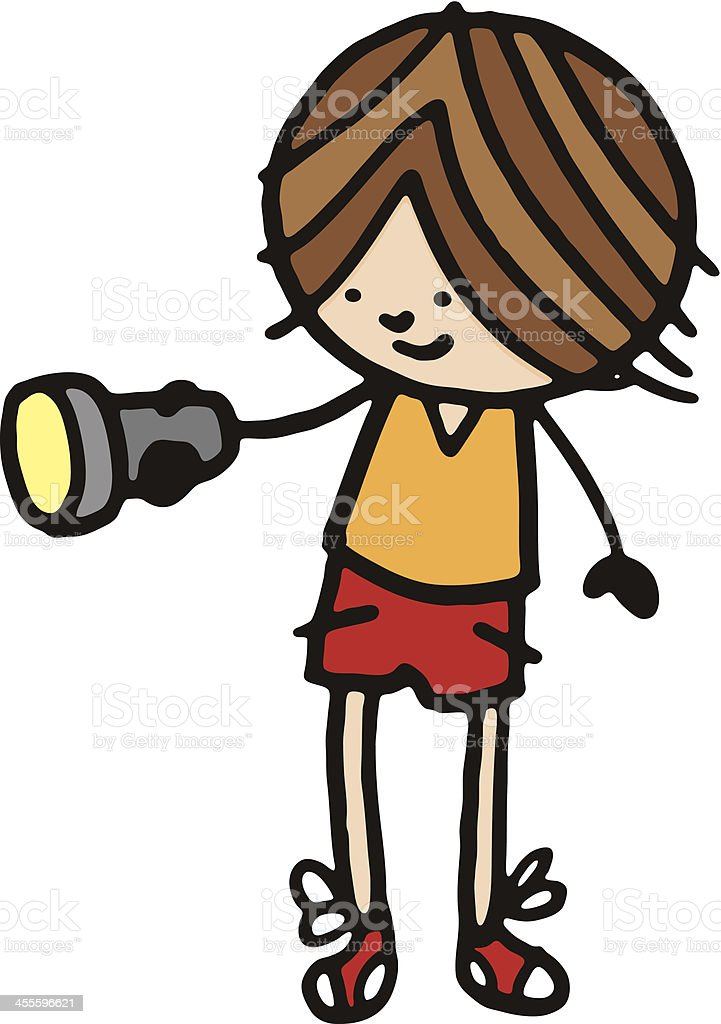 Little boy holding a torch royalty-free stock vector art