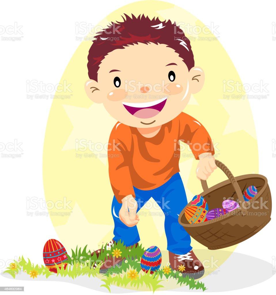 Little Boy Hunting Easter Egg in Nature vector art illustration