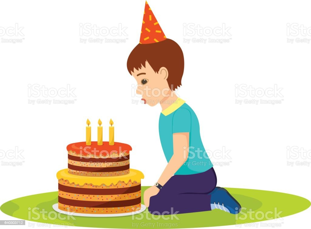 Little Boy In A Festive Mood Blows Out Birthday Cake Stock Vector