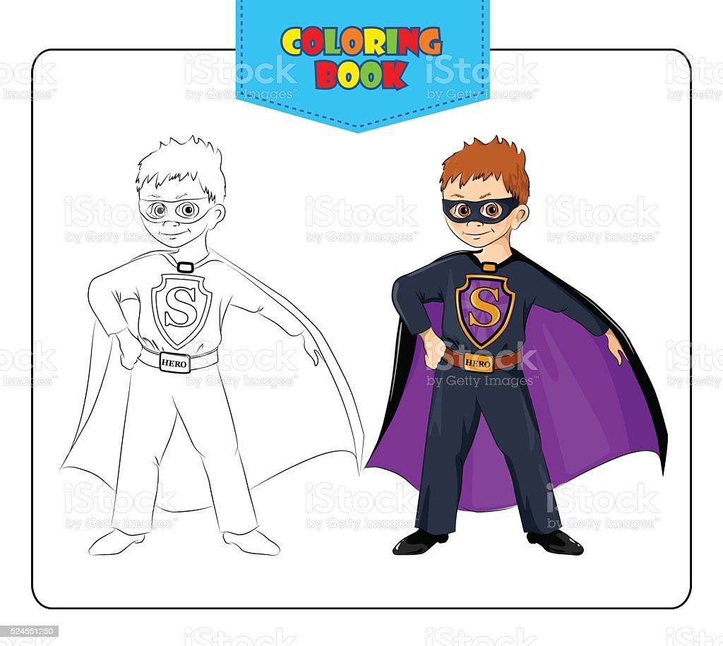 Little Boy In Carnival Costume Superhero Coloring Book Stock Vector ...
