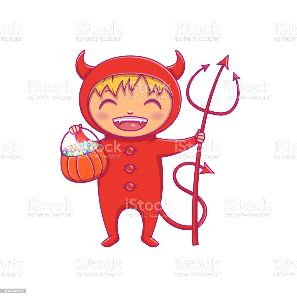 Petit Garçon En Costume Dhalloween De Rire De Diable Vecteur