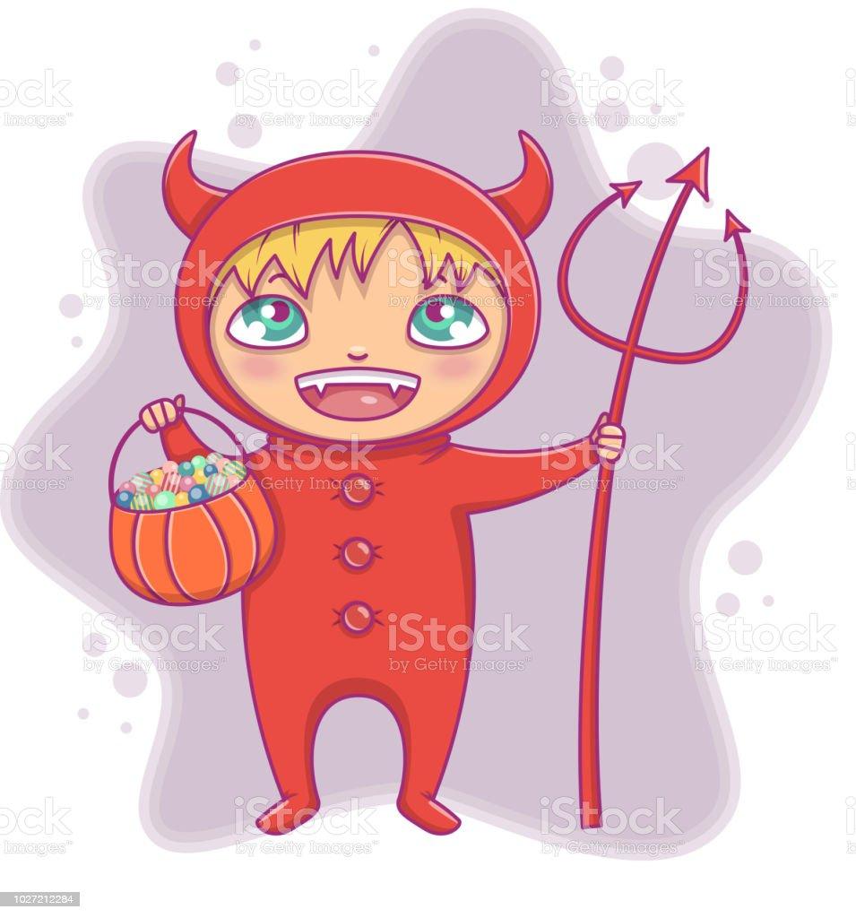 Petit Garçon En Riant Du Costume Halloween Diable Vecteur De