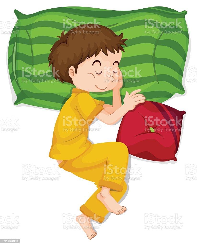 Little boy in yellow pj sleeping vector art illustration