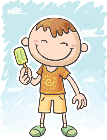 Little boy is having ice bar in summer time