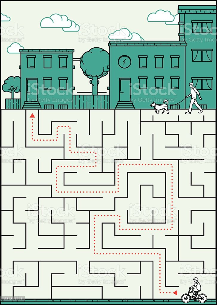 Little boy is lost in a labyrinth vector art illustration