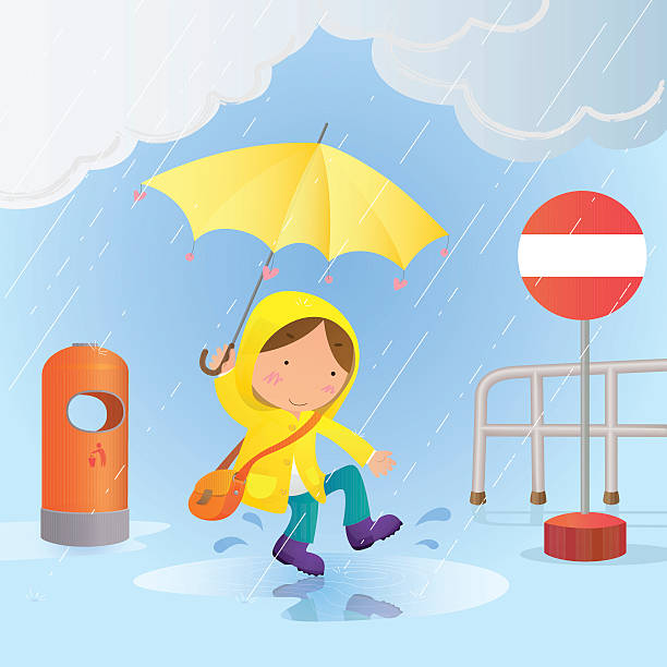 little boy jumps in a rainwater puddle and has fun - kids playing in rain stock illustrations, clip art, cartoons, & icons