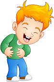 Vector illustration of Little boy laughing out loud