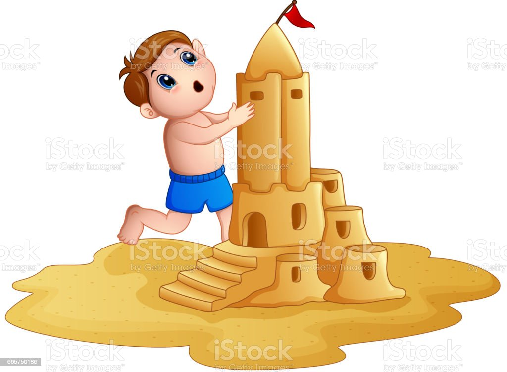 Little boy making a big sandcastle at beach vector art illustration