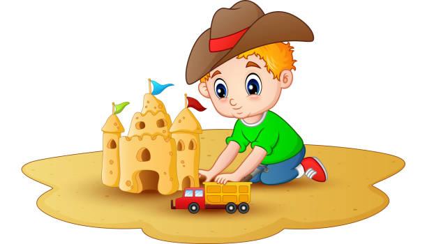 Little Boy Toys Clip Art : Royalty free building sandcastle clip art vector images