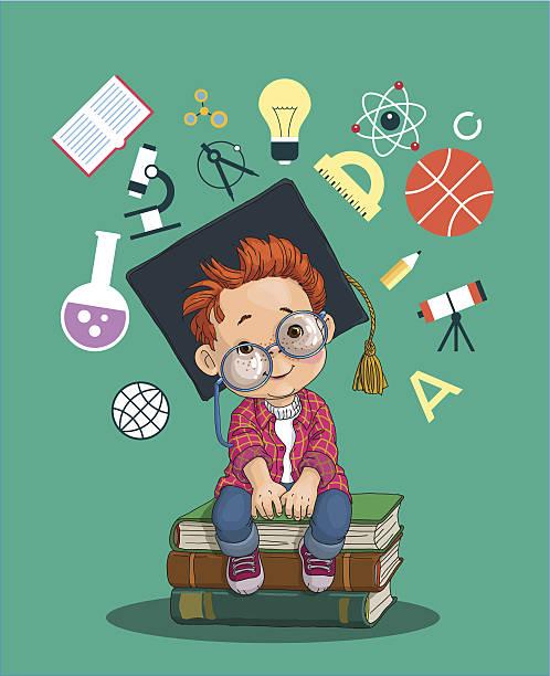stockillustraties, clipart, cartoons en iconen met little boy on the books - alleen één jongensbaby