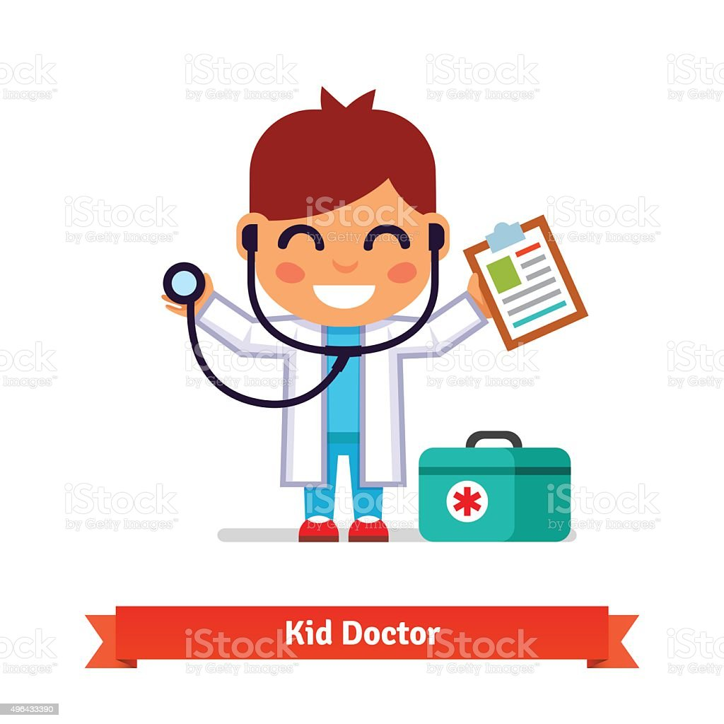 Little boy playing doctor with a stethoscope vector art illustration