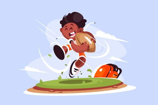 illustrations, cliparts, dessins animés et icônes de petit garçon jouer au rugby à l'extérieur - rugby