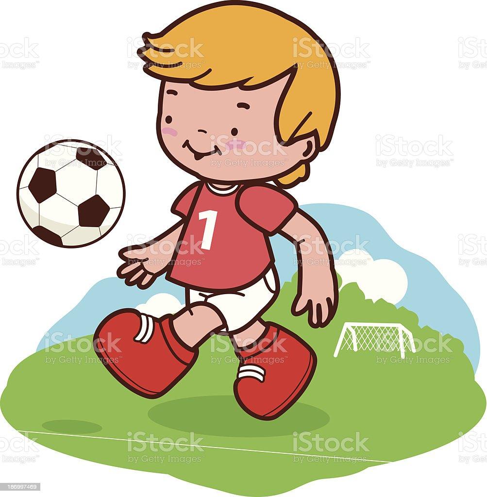 Kleine Junge Spielt Fussball Stock Vektor Art Und Mehr Bilder