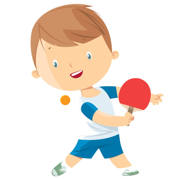little boy playing table tennis - paddle sports stock illustrations