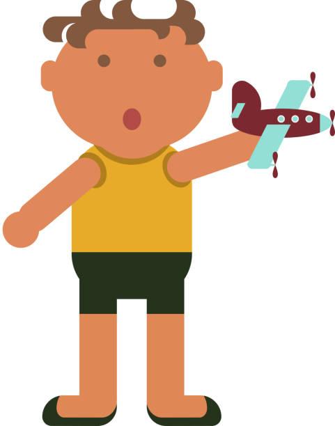 little boy plays vector art illustration