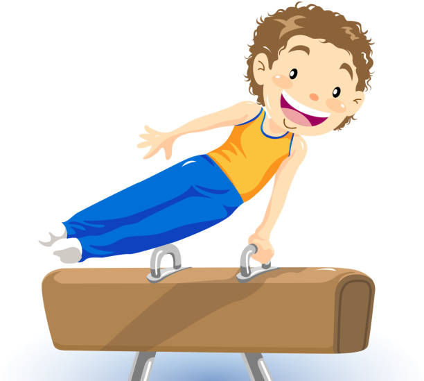little boy pommel horse gymnastics‎ - gymnastics stock illustrations, clip art, cartoons, & icons