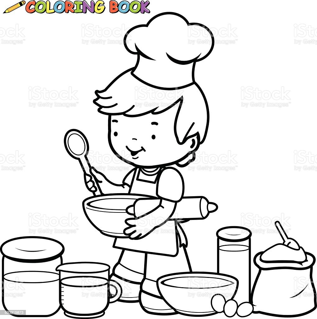 Little Boy Preparing To Cook Coloring Book Page Royalty Free
