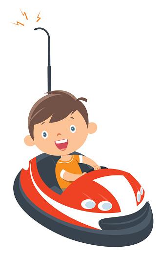 Little boy riding a bumper car