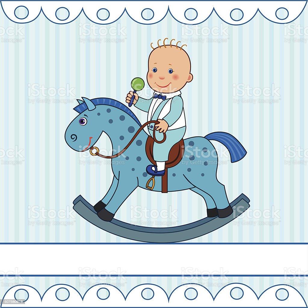 Sagoma Cavallo A Dondolo Disegno.Ragazzino Guida Su Un Cavallo A Dondolo Immagini Vettoriali