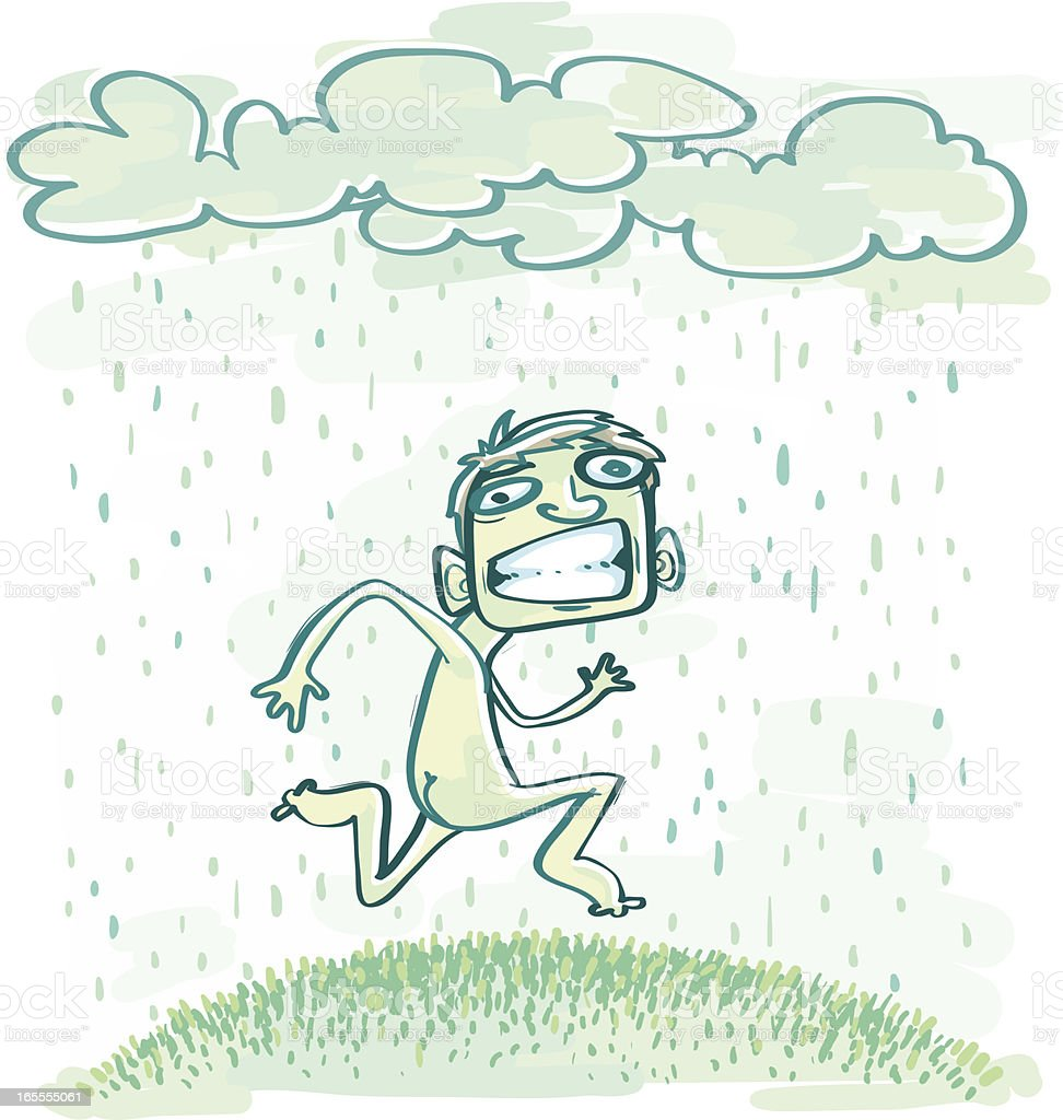 Little Boy Running Naked Through Rain royalty-free stock vector art