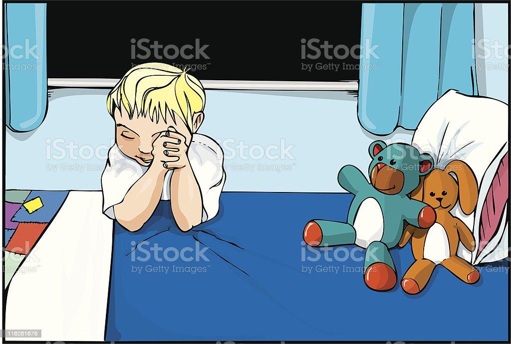 Little boy saying his evening prayers royalty-free stock vector art