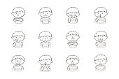 Little boy showing different emotions. Collection of 12 hand drawn line illustrations isolated on white background