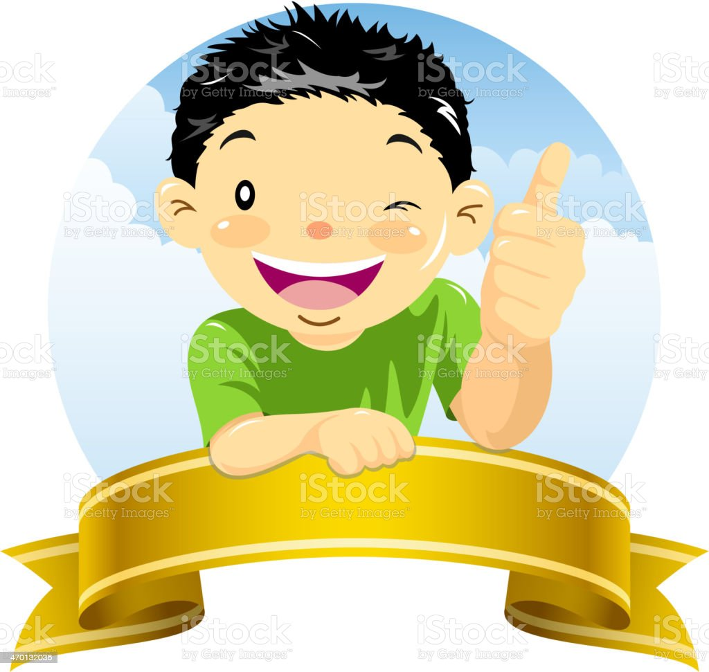 Little boy showing thumb up gesture with ribbon banner vector art illustration