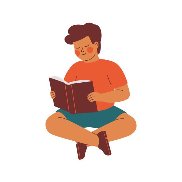 ilustrações de stock, clip art, desenhos animados e ícones de a little boy sits on the floor and with interest reads a book. - somente crianças