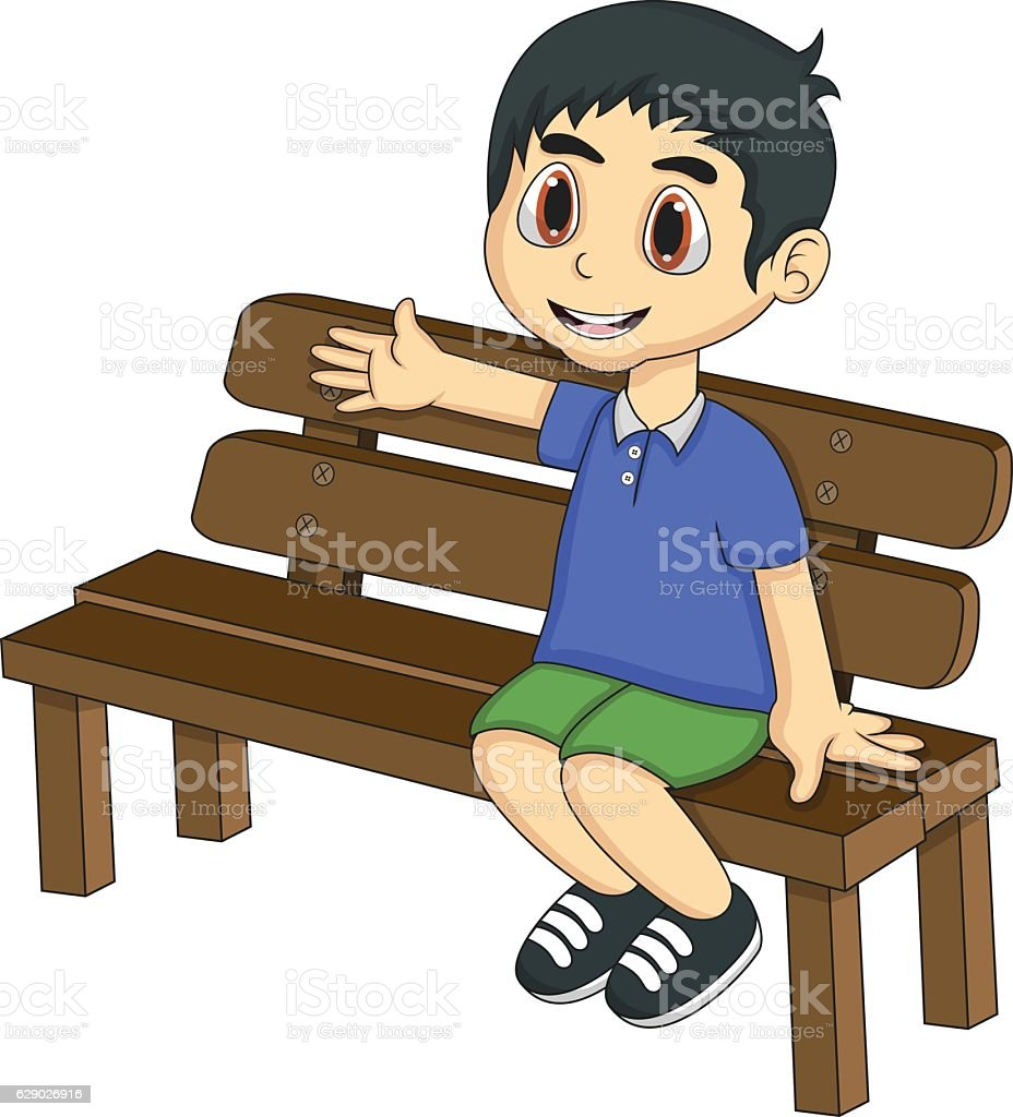 Little boy sitting on a bench cartoon