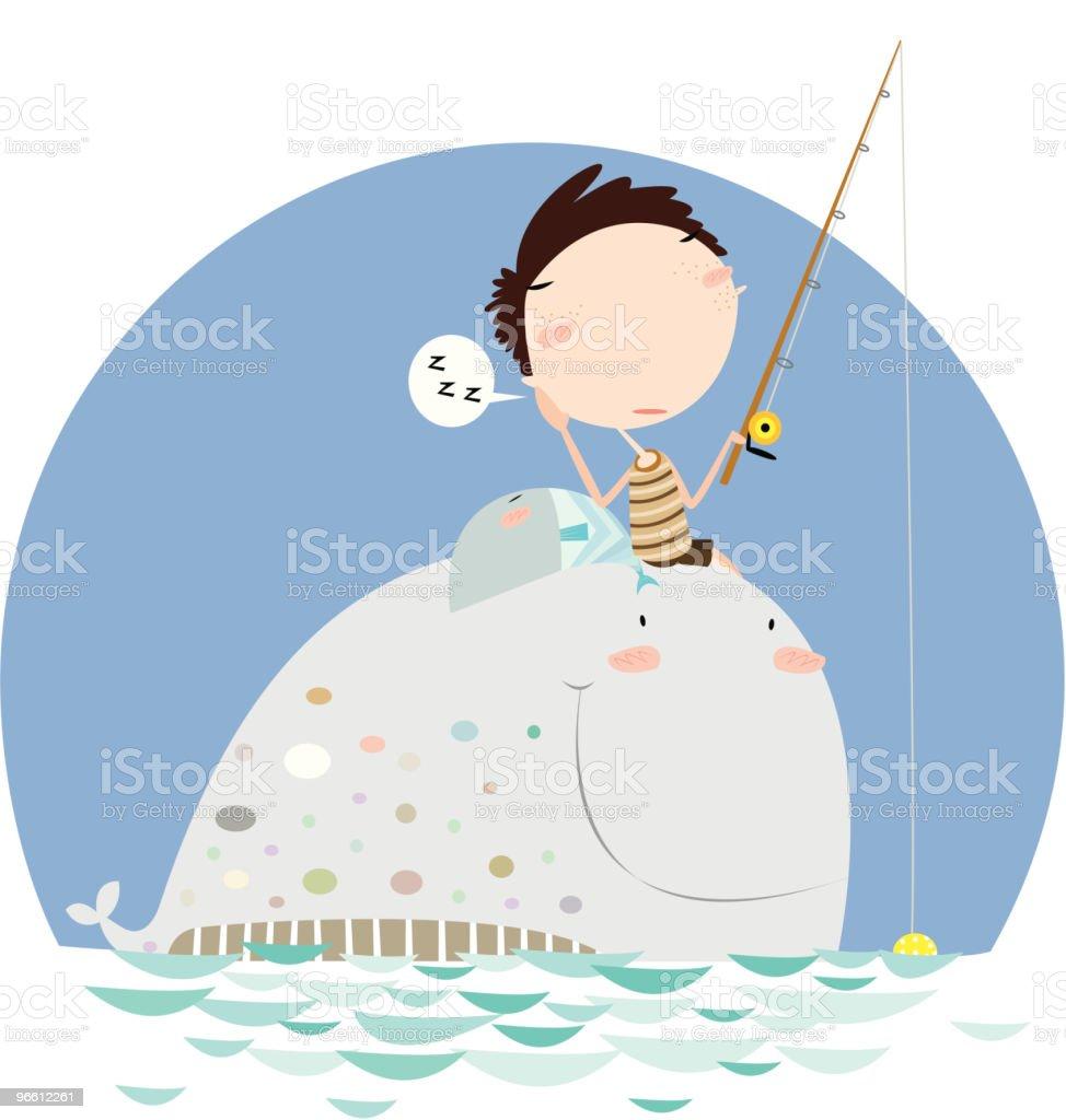 Little Boy Sitting on Whale and Fishing - Royaltyfri Barn vektorgrafik
