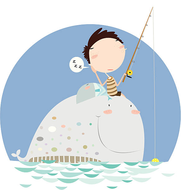 Little Boy Sitting on Whale and Fishing vector art illustration