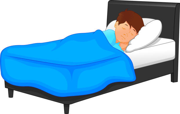 Royalty Free Sleeping Boy In Bed Clip Art, Vector Images