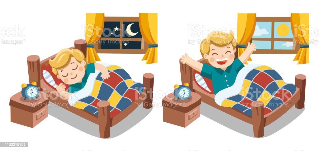 Isolated vector. A Little boy sleeping on tonight dreams, good night...