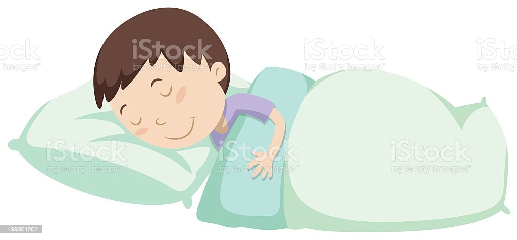 Little boy sleeping under blanket vector art illustration