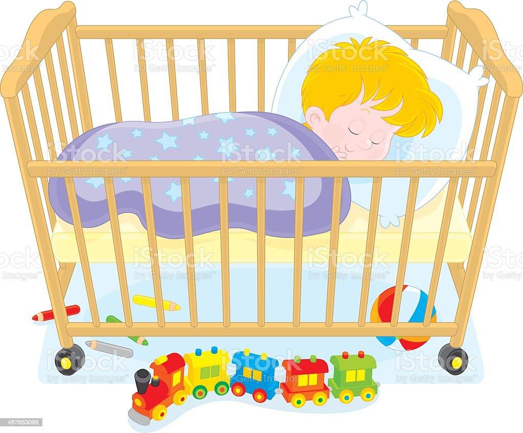 Little boy sleeping vector art illustration