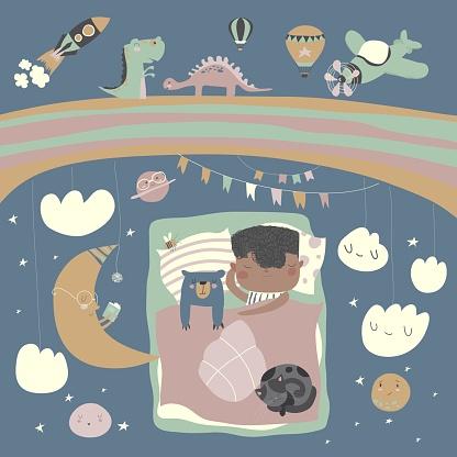 Little boy sleeping with teddy bear under the stars,rainbow and moon