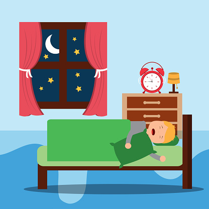 A Little boy sleeps in the night