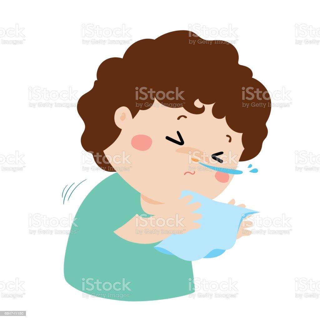 Little boy sneezing cartoon vector. vector art illustration