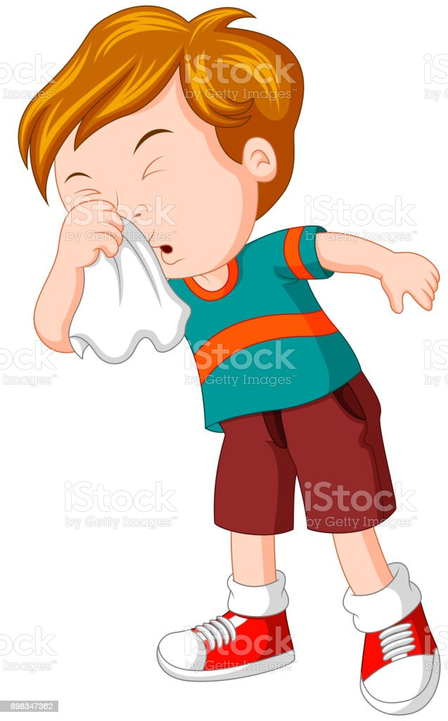Little boy sneezing hard vector art illustration