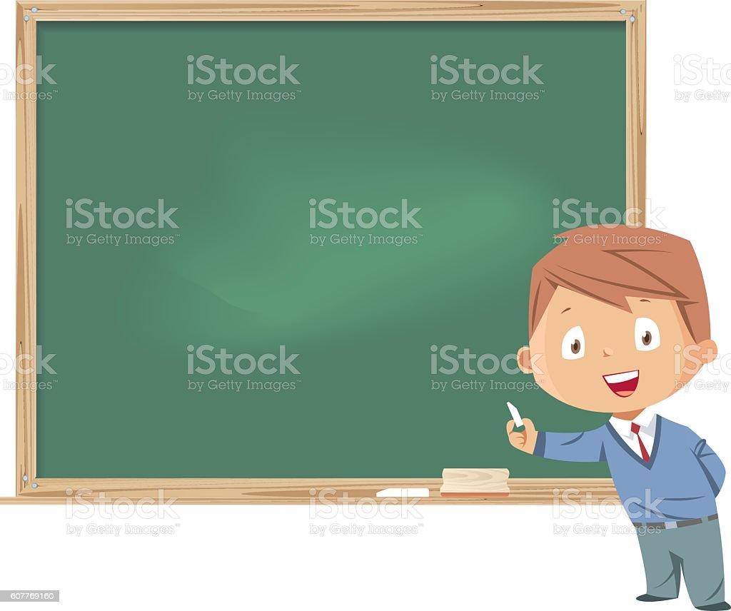 Little boy standing in front of the blackboard vector art illustration