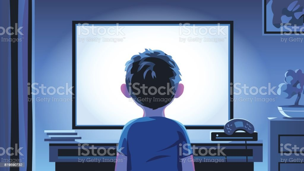 Little Boy Staring At TV At Night vector art illustration