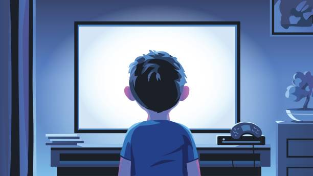 Little Boy Staring At TV At Night Vector illustration of a boy standing in front of a television set in a living room late at night. Concept for addict stock illustrations