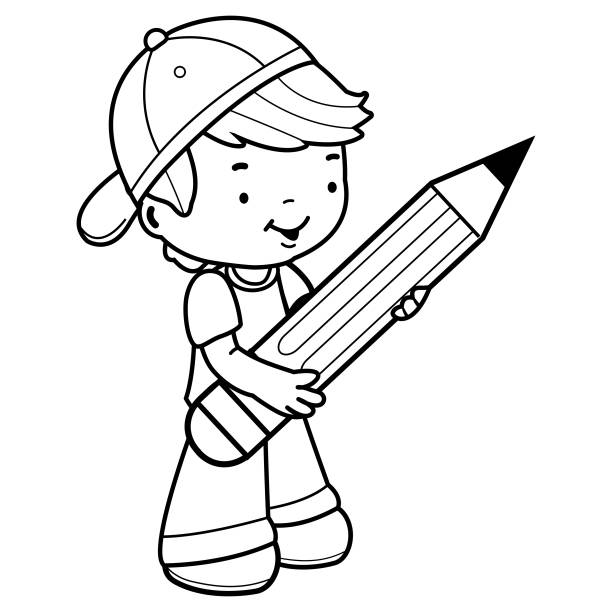 Top 60 Child Writing Big Pencil Clip Art Vector Graphics And