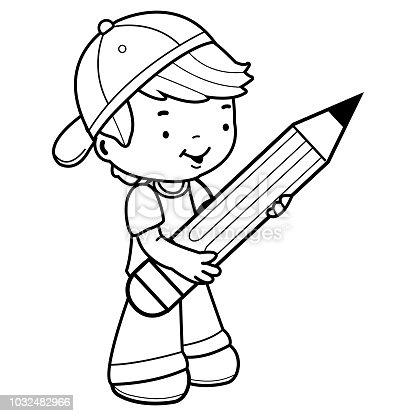 Ilustração de Pequeno Estudante Rapaz Segurando Um Lápis
