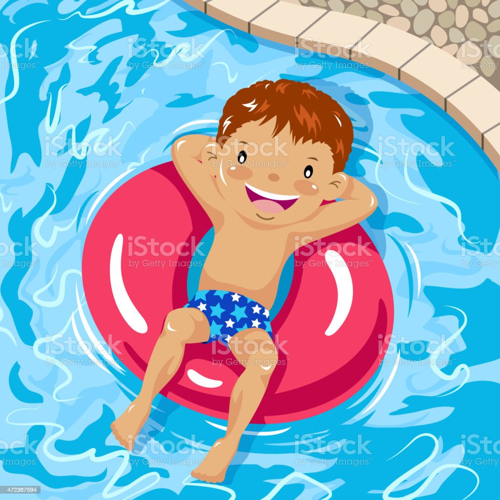 Little boy sunbathing on inner tube in swimming pool vector art illustration