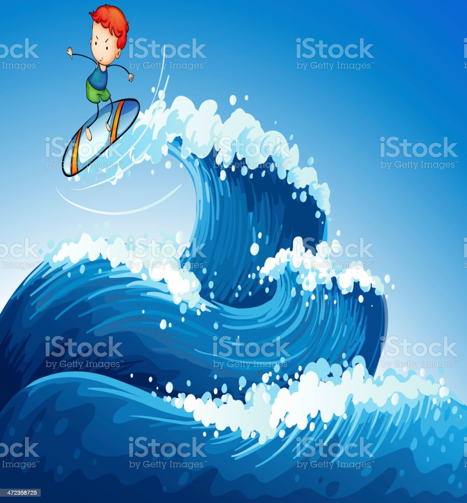 little boy surfing at the sea royalty-free stock vector art